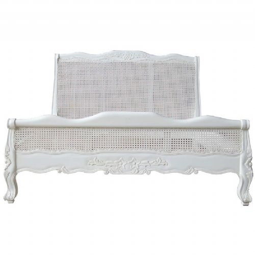 Louis Bed with Rattan and Low Footend Antique White